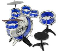 Big Band Let's Rock in Roll Toy Jazz Drum 6PCs Blue Music Play Set