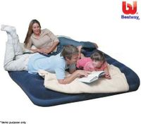 Bestway Comfort Queen Size Camping Air Mattress Bed Flocked Inflatable