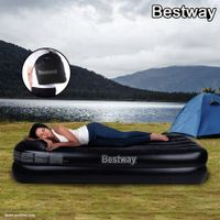 Bestway Comfort Quest Deluxe Single Size Inflatable Mattress/Air Bed with Built-In Pillow