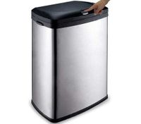 Button Activated Trash Bin - Matt Stainless Steel 50L with PP Inner Bucket