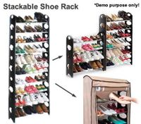 30 Pair Shoe Stackable 10-Tier Storage Rack with Non-Woven Cover