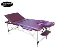 Genki Portable Massage Table Bed - Foldable & Adjustable - Aluminium  - Burgandy