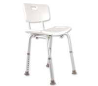 Adjustable Bath / Shower Seat with Back Rest - White