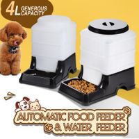 2 x Automatic Dogs / Cats /Birds / Rabbits / Guinea Pigs /Ferrets Pets Feeder & Waterer - Black