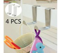 4PCS L-Shaped Stainless Steel Door Hook