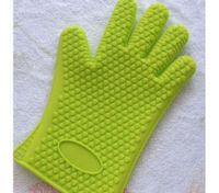 Baking Cooking Oven Mitt Non-slip Grip Heat-resistant Silicone Glove Pot Holder Green