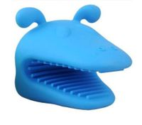 Heat-resistant Silicone Dog Oven Mitt Kitchen Baking BBQ Glove Holder Tool Blue