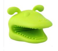 Heat-resistant Silicone Dog Oven Mitt Kitchen Baking BBQ Glove Holder Tool Green