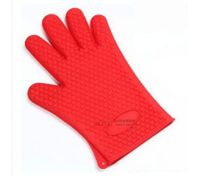 Baking Cooking Oven Mitt Non-slip Grip Heat-resistant Silicone Glove Pot Holder Red