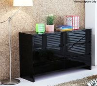 Black High Gloss Six Drawer Cabinet