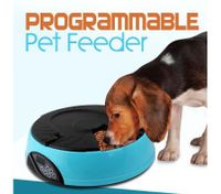 6 Compartment Programmable Pet Feeder with Recordable Message and Built-In Microphone Blue