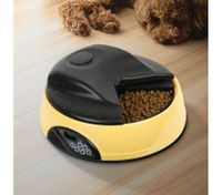 4 Compartment Programmable Pet Feeder with Recordable Message and Built-In Microphone Yellow