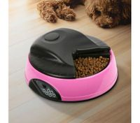 4 Compartment Programmable Pet Feeder with Recordable Message and Built-In Microphone Fuchsia