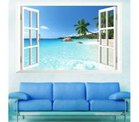 3D Window Removable Beach Sea View Scenery Wall Sticker Decor Decals