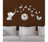 Silver Mirror Clock Elephant&Butterfly Wall Sticker Decal Movement Clock Decors
