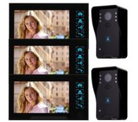 "7"" Video Door Phone Intercom Doorbell Home Security Camera Monitor Night Vision(3*Indoor Unit + 2*Outdoor Unit)"