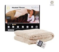 160cm x 130cm Heated Latte Throw Blanket