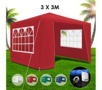 3x3m Red Walled Waterproof Outdoor Gazebo