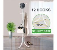 12 Hook Tree Style Coat Hat Bag Clothes Rack-White