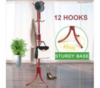 12 Hook Tree Style Coat Hat Bag Clothes Rack-Wine Red