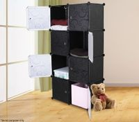 Embossed 8 Cabinet Multi Storage Wardrobe