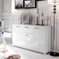 White 2 Door 3 Drawer Buffet Cabinet
