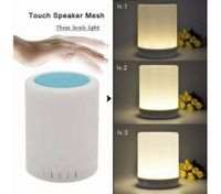 LED night light wireless bluetooth emotion Speaker light touch small desk lamp-Blue