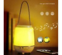 Portable handheld wireless bluetooth speaker outdoor LED night light lamp-Yellow