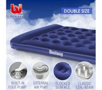 Bestway Double Inflatable Mattress Built-in Pillow Foot Pump