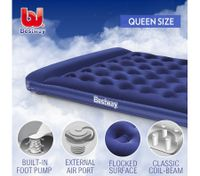 Bestway Queen Inflatable Mattress Foot Pump Built-in Pillow Air Bed