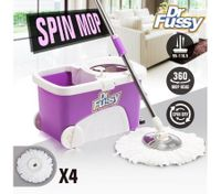 360 Degree Spinning Mop with Stainless Steel Spin-Dry Bucket with Four Free Mop Heads