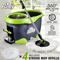 360 Degree Spin Mop & Stainless Steel Dry Bucket with Four Free Mop Heads