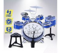 Blue Jazz Drum Play Set of 6 Drum & 3 Cymble