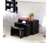 Set of 3 High Gloss Nest of Tables-Black