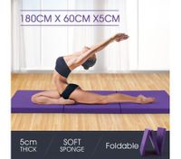 Tri-Fold Exercise Floor Mat-Purple