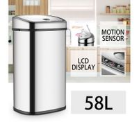 58L Silver Chrome Sensor Operated Touch Less Dust Bin