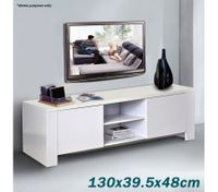 White 4-Compartment TV Table