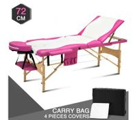 White and Pink 3 Fold Wooden Massage and Beauty Therapy Bed