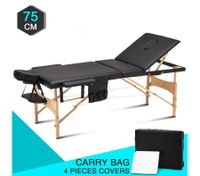 3 fold 75 CM Black Wooden Massage Therapy Bed