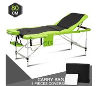 80 CM Black and Green Aluminum Massage Table for Beauty Treatments