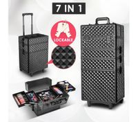 7 In 1 Portable Cosmetics Case Box with Trolley and Handle Feature