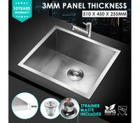 51x45cm Stainless Steel Under/Topmount Kitchen Sink