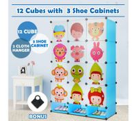Kids DIY 12 Cubes Storage W/ 3 Shoes Rack Bedroom Cabinet Closet Origanizer-Blue