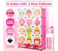 Kids DIY 12 Cubes Storage W/ 3 Shoes Rack Bedroom Cabinet Closet Origanizer-Pink