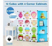 Tupper Cabinet 12 Cubes Kids DIY Storage W/ Corner Cabinet Toys Book shelf - Blue
