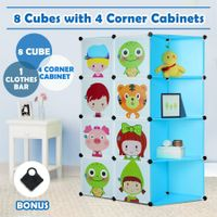 Tupper Cabinet Kids DIY 8 Cubes Storage with Corner Cabinet Closet Organizer -Blue