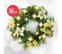 36cm Christmas Wreath Door Decoration with 30 LED Light- White&Gold