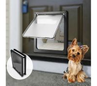 Extra Large 2 Way Lockable Pet Dog Cat Brushy Flap Door-Black