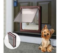 Extra Large 2 Way Lockable Pet Dog Cat Brushy Flap Door-Coffee