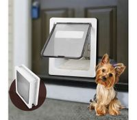 Large 2 Way Lockable Pet Dog Cat Brushy Flap Door-White
